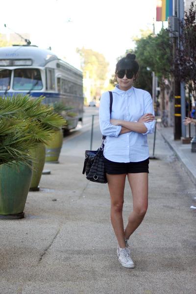 black cotton Theory shorts - light blue cotton oxford Uniqlo shirt