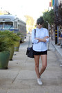 Light-blue-cotton-oxford-uniqlo-shirt-black-rebecca-minkoff-bag