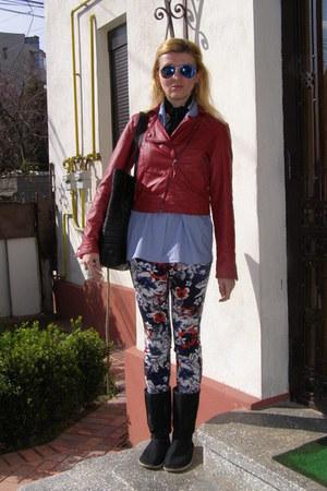 black denim Ugg boots - red fake leather jacket - sky blue striped Huren shirt