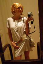 white Zara dress - beige verablum boots - off white Only purse