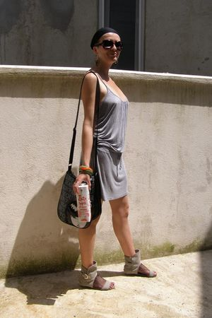 black leather emily the strange bag - gray shoes - gray H&M dress