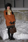Black-lace-dress-burnt-orange-tara-coat-tan-flash-blazer
