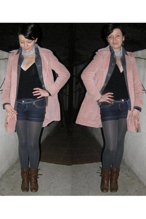light pink best mountain coat - heather gray Juno blazer - silver oemen tights -