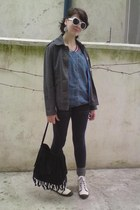 charcoal gray Juno blazer - navy denim dark Bershka shorts - white polarview sun