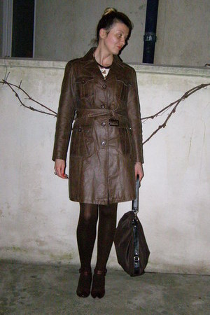 dark brown leather trench coat - dark brown tights - dark brown bag