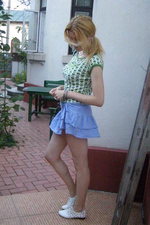 black handmade floral Catwork bag - periwinkle Bershka skirt - white Pinky flats