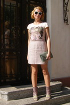 light pink Cori skirt - dark green purse - olive green socks - white sunglasses