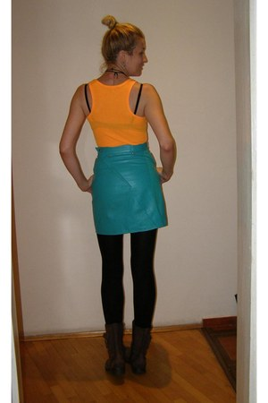 brown Lisa W boots - black Conker jacket - turquoise blue leather skirt