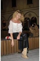 beige faux leather verablum boots - eggshell BLANCO purse