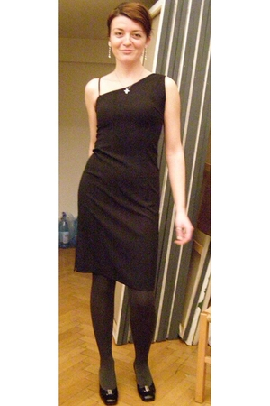 black dress - black cyclone shoes - gray dragone tights - silver accessories - b