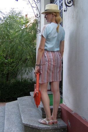 white skirt - ivory straw meli melo hat - carrot orange leather Cole Haan purse