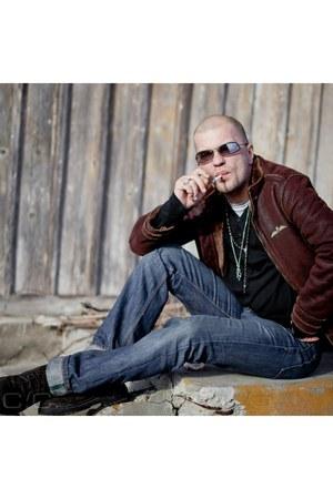 navy jeans - dark brown leather jacket