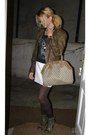 Olive-green-leather-boots-light-brown-leather-jacket-white-leather-skirt
