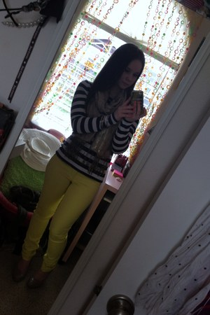 yellow Nordstrom Rack pants - navy stripes Forever 21 sweater