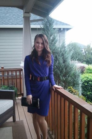 purple dress - black Charlotte Russe purse - black White House Black Market belt