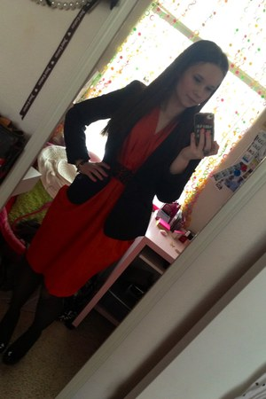 black Forever 21 blazer - carrot orange H&M dress - black tights