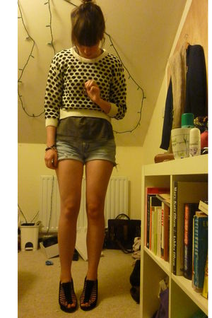black Topshop shoes - blue vintage levis shorts - gray Blink-182 t-shirt - white