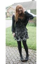 new look top - new look dress - Topshop tights - debenhams collection shoes