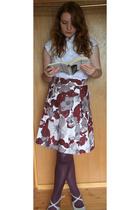 H&M skirt - vintage blouse - portobello road market tights - Peacocks shorts