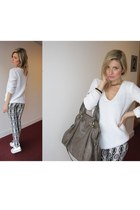 white knitted H&M sweater - black H&M pants