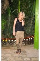 printed pull&bear pants - oversized Zara top - black River Island sandals