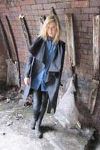 black All Saints coat - grunge Zara boots - faux leather Topshop leggings