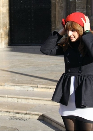 red Converse shoes - black Topshop coat - red handmade hat
