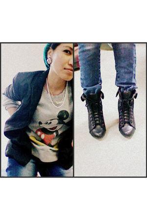 black H&M blazer - black Forever 21 boots - blue Zara jeans
