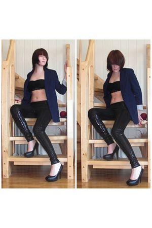 black BikBok intimate - black BikBok blazer - black bullboxer shoes - BikBok leg