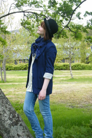 blue BikBok jeans - blue BikBok blazer - blue scarf - beige Vero Moda blouse - b