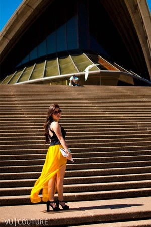 yellow chiffon asoscom skirt - bag - black cutout Alivegirl top
