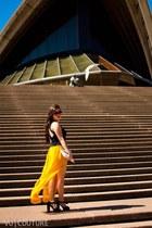 yellow chiffon asoscom skirt - bag - black cutout Alivegirl top