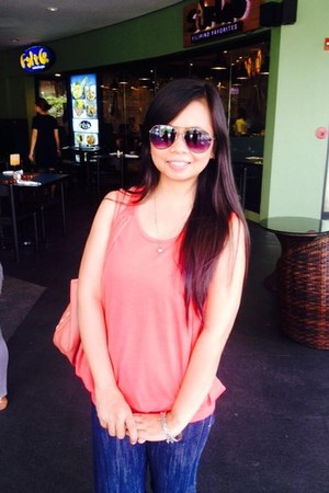 salmon blouse - coral bag - black sunglasses
