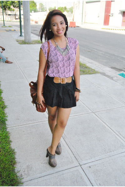 Bubble Gum Zebra Print Thrifted Tops Brown Satchel Bags | U0026quot;What I Wore Bloggers United 2u0026quot; By ...