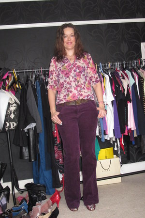 ruby red Primark blouse - maroon Long Tall Sally pants - brown Louis Vuitton bel