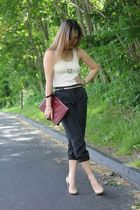 black Forever 21 pants - red thrift purse