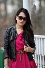 Hot-pink-bubble-hem-forever-21-dress-black-faux-leather-forever-21-jacket