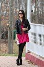 Hot-pink-bubble-hem-forever-21-dress-black-faux-leather-forever-21-jacket