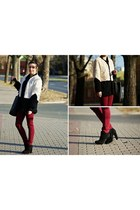 black new look sweater - ivory Romwecom coat - black no name bag