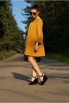 mustard H&M dress - black new look wedges