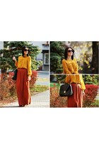 mustard H&M dress - burnt orange River Island skirt
