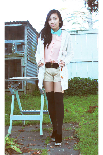 jacket - Glassons tights - Korean label shorts - MD fashion blouse