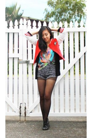 black boots - red letterman Glassons jacket - heather gray BDG shorts