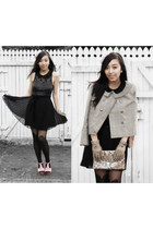 black Dotti dress - dark khaki vintage jacket - black Glassons tights