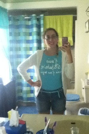 white random cardigan - sky blue Jennifer shirt - navy American Eagle shorts
