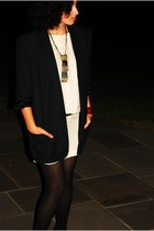 blazer - dress - belt - nicole miller tights - bracelet - necklace