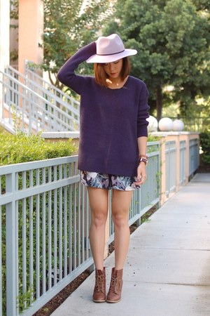 ASH boots - asos hat - piperlime sweater - Kimchi Blue shorts