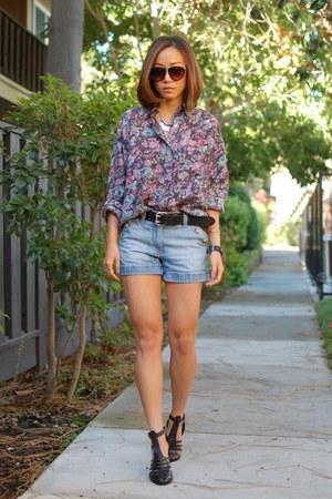 madewell shorts - Wildfox sunglasses - madewell belt - Zara heels
