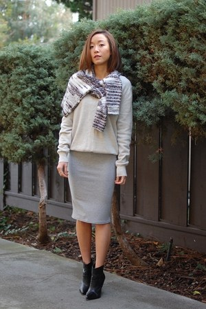 H&M sweater - JCrew sweater - shoemint boots - asos skirt