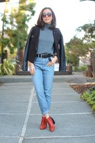 Zara boots - BDG jeans - vince jacket - Alice  Olivia sweater